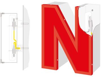 profilbuchstaben mit led und neonausleuchtung. Black Bedroom Furniture Sets. Home Design Ideas