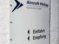 Hinweisschilder/Wegleitsysteme aus Aluminium mit digital bedruckter Hochleistungsfolie: Aircraft Philipp Karlsruhe